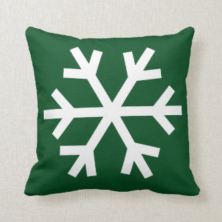 Snowflake pillow - forest green