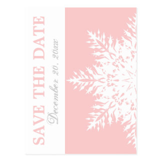 Snowflake pink winter wedding Save the Date Postcard