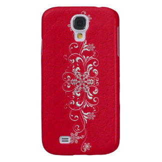 Snowflake RED Pern  Galaxy S4 Case