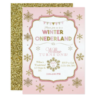 Snowflake Winter Onederland Birthday Invitation