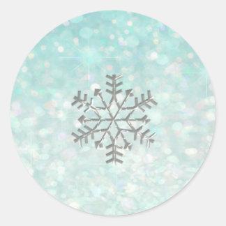 Snowflake winter Romantic Glitter sparkle paleblue Classic Round Sticker