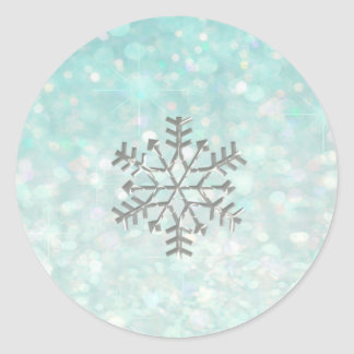 Snowflake winter Romantic Glitter sparkle paleblue Round Sticker