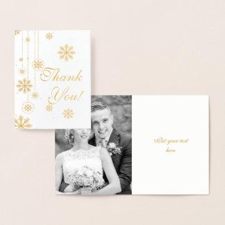 Snowflake winter wedding Thank You photo gold Foil Card