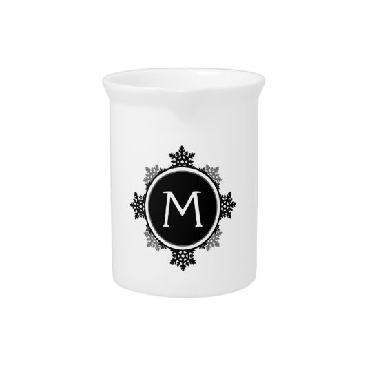 Snowflake Wreath Monogram in Black and White Pitcher