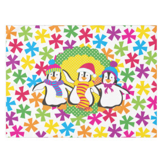 Snowflakes and Penguins Winter Holiday Tablecloth