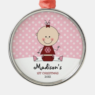 Snowflakes Baby Girl 1st Christmas Personalised Christmas Ornament