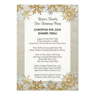 Snowflakes Beach Sand Coastal Christmas Menu 13 Cm X 18 Cm Invitation Card