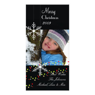 Snowflakes ~ black and white christmas photo greeting card