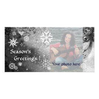 SNOWFLAKES ,black ,white,grey Photo Greeting Card