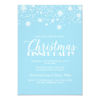 Snowflakes Blue and White Christmas Dinner Party 13 Cm X 18 Cm Invitation Card