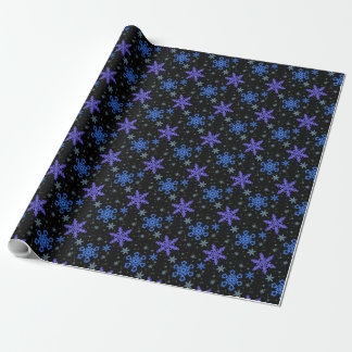 Snowflakes Blue Purple on Black Wrapping Paper