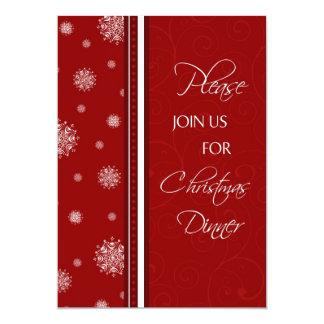 Snowflakes Christmas Dinner Invitation Card