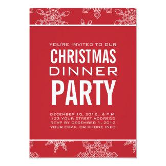 "SNOWFLAKES CHRISTMAS DINNER PARTY INVITATION 5"" X 7"" INVITATION CARD"
