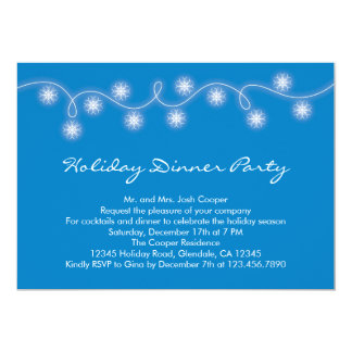 Snowflakes Garland Holiday Dinner Party Invitation
