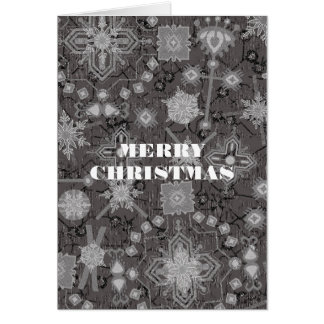 SNOWFLAKES IN WINTER GREY CHRISTMAS CARD