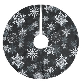 snowflakes on black brushed polyester tree skirt