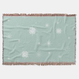 Snowflakes on Pale Green Throw Blanket