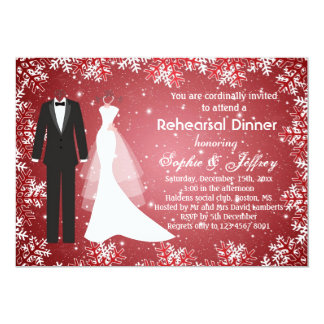 Snowflakes on red Christmas Rehearsal Dinner 5x7 Paper Invitation Card