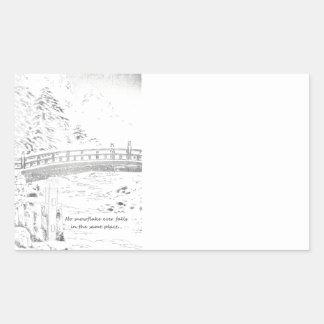 Snowflakes on the Bridge Rectangular Sticker