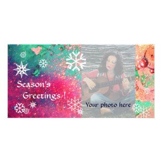 SNOWFLAKES  pink ,fuchsia,green,white Personalized Photo Card