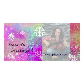 SNOWFLAKES ,pink,fuchsia,violet,purple,white Personalised Photo Card