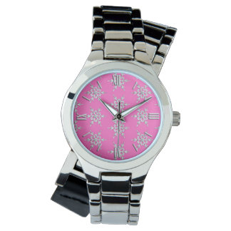 Snowflakes, silver crystals on fuchsia pink watch