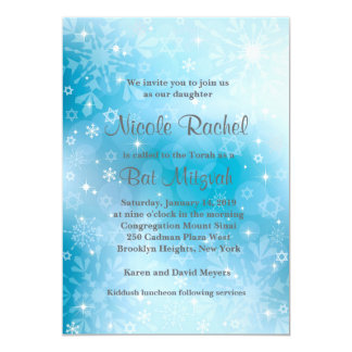 Snowflakes Star of David Bat Mitzvah Invitation
