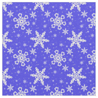 Snowflakes White on Blue Fabric