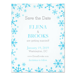 Snowflakes Winter Wedding Save the Dates Card