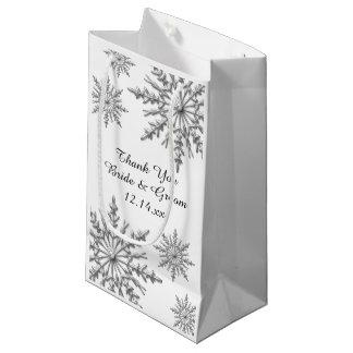 Snowflakes Winter Wedding Thank You Small Gift Bag