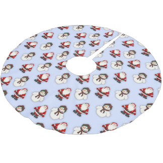 Snowman and Santa Pattern Brushed Polyester Tree Skirt