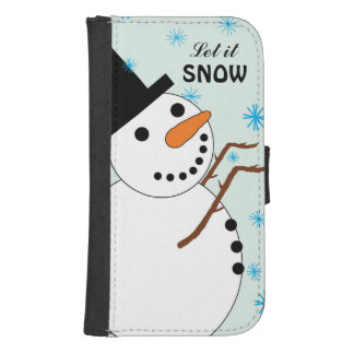 Snowman Catching Snowflakes Wallet Case