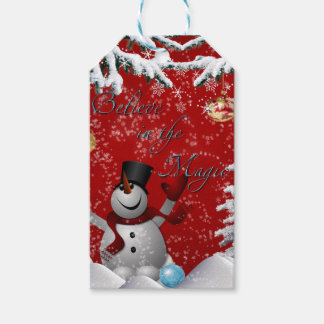 Snowman Christmas tree red white believe snow tags