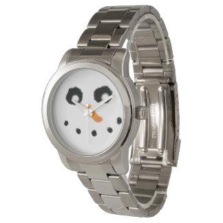 Snowman face silver watch