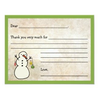 Snowman Fill in the blank thank you note / holiday 11 Cm X 14 Cm Invitation Card