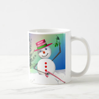 Snowman Holding Mistletoe Coffee Mug