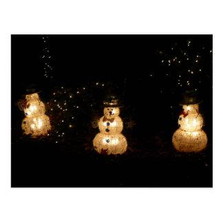 Snowman Holiday Light Display Postcard