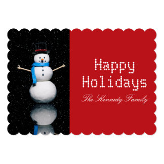 Snowman on a Black Background with snow falling Card