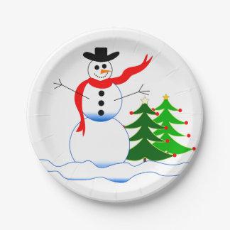 Snowman on Custom Paper Plates