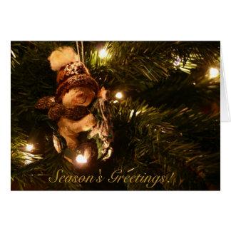 Snowman on tree Season s Greetings Greeting Cards