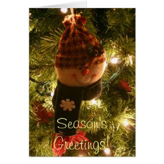 Snowman on tree Season s Greetings Greeting card