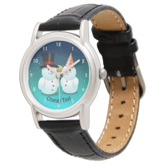 Snowman With Black Felt Top Hat And Snowman Lady Watch