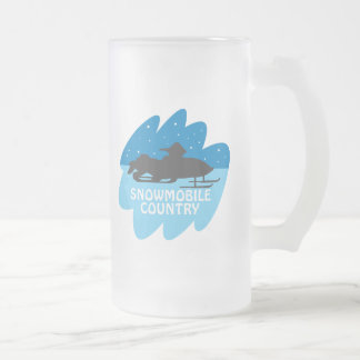 Snowmobile Country Frosted Glass Beer Mug