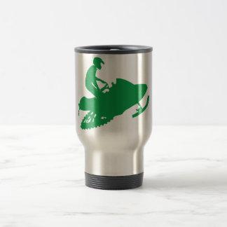 Snowmobiler/Green Sled Travel Mug