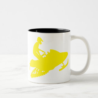 Snowmobiler/Yellow Sled Two-Tone Coffee Mug