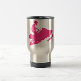 Snowmobiling/Hot Pink Sled Travel Mug