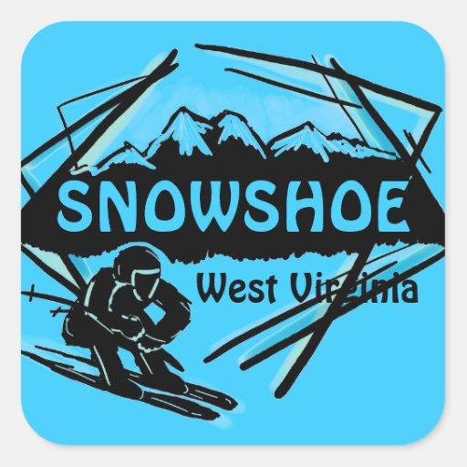 Snowshoe West Virginia blue ski logo stickers