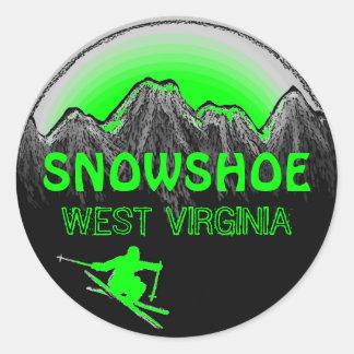 Snowshoe West Virginia green ski stickers