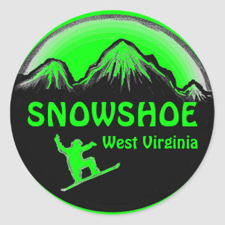Snowshoe West Virginia green snowboard stickers