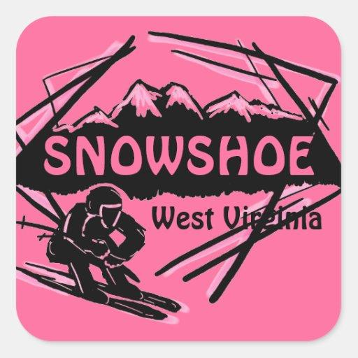 Snowshoe West Virginia pink ski logo stickers